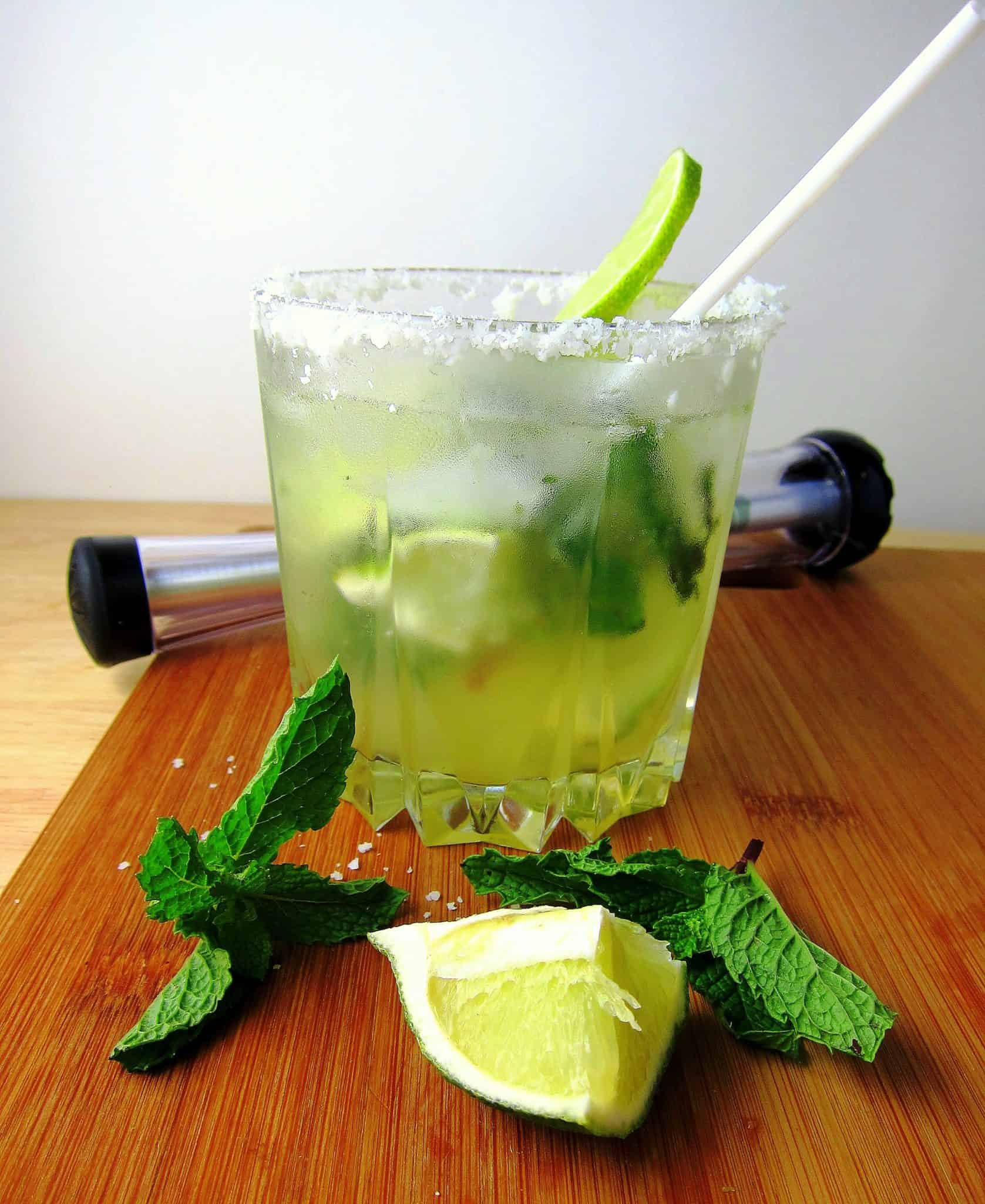 coconut mojito with agave syrup