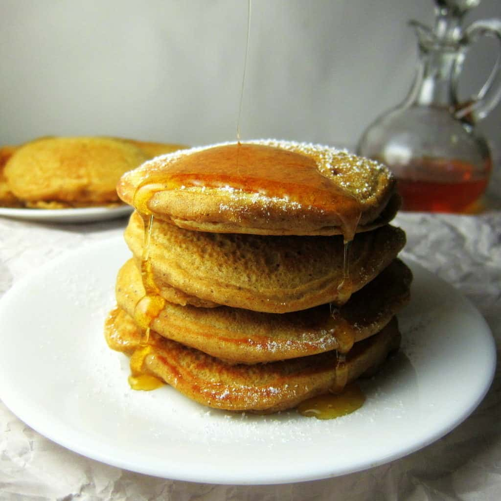 stack of whole wheat spiced pumpkin pancakes