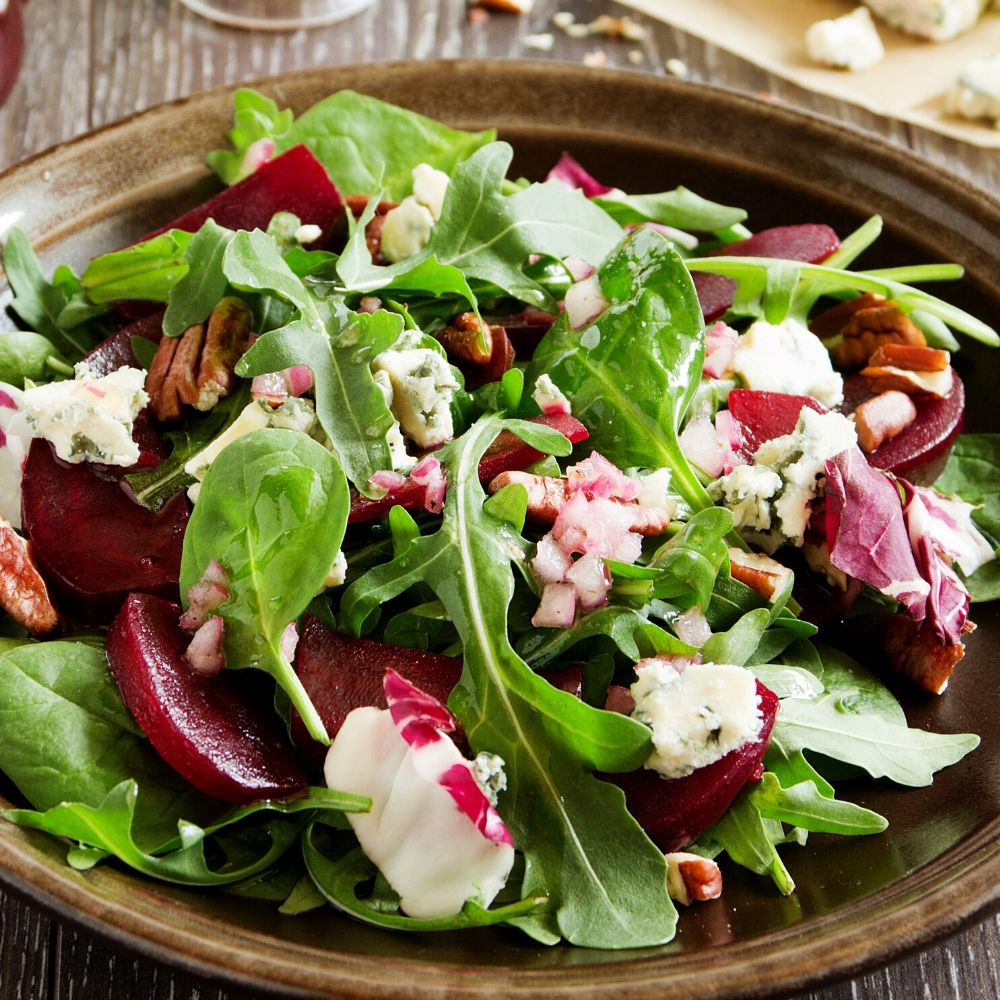 beet and blue cheese salad with radicchio in a bowl