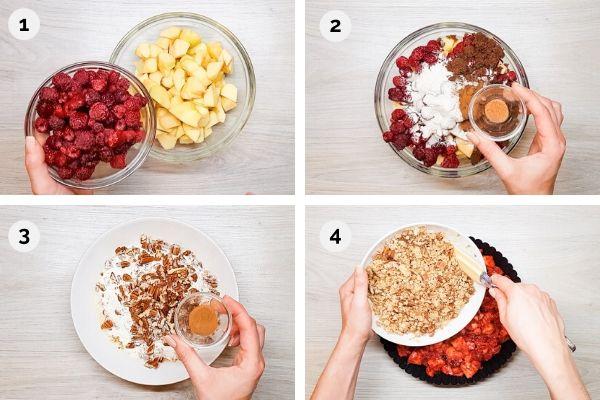 collage of how to make raspberry apple crisp