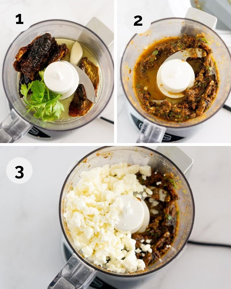 collage of steps for how to make feta sundried tomato spread