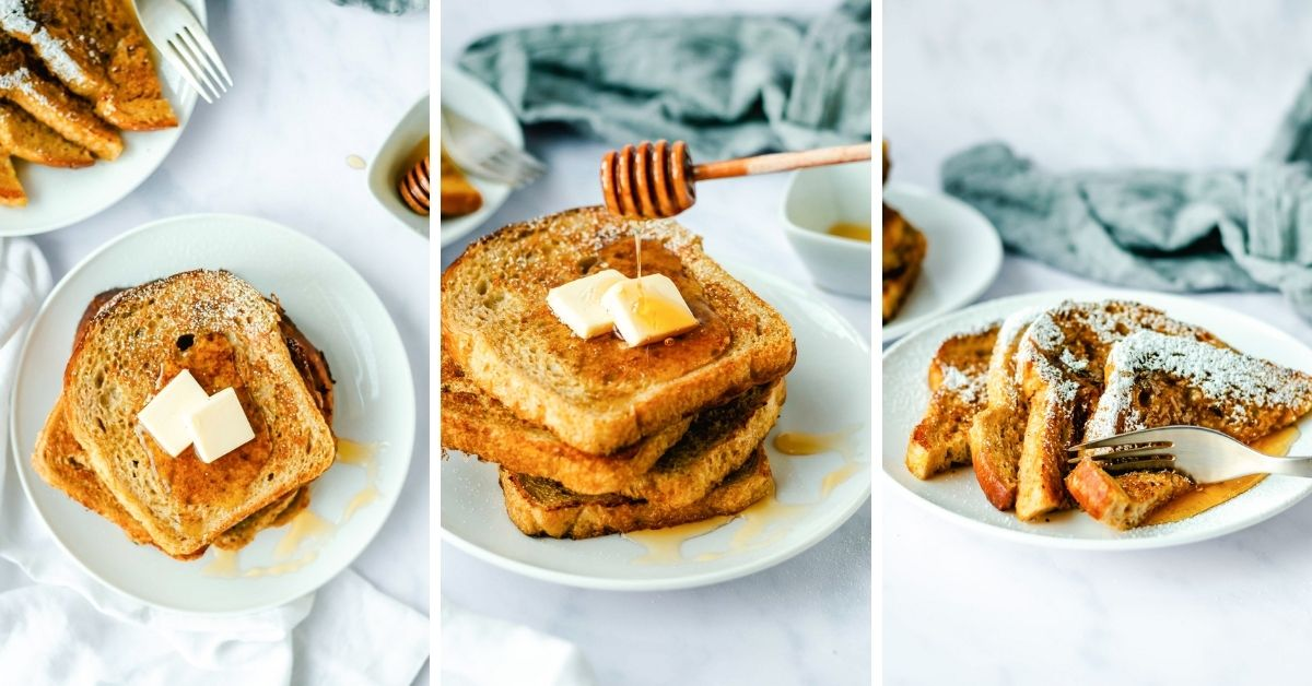 collage of pumpkin french toast photos topped with maple syrup and powdered sugar