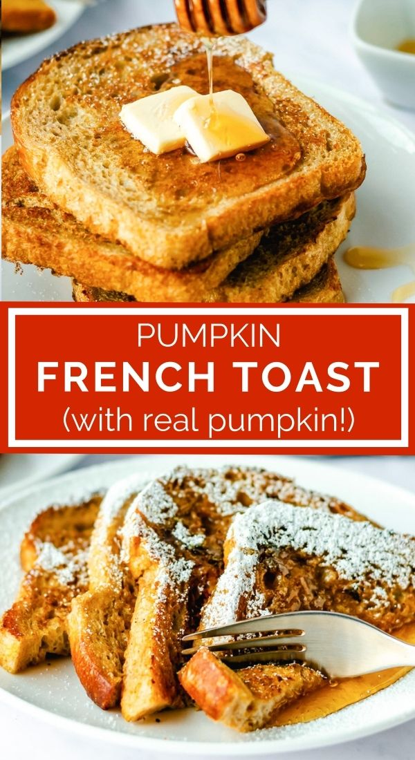 pinnable image of pumpkin french toast