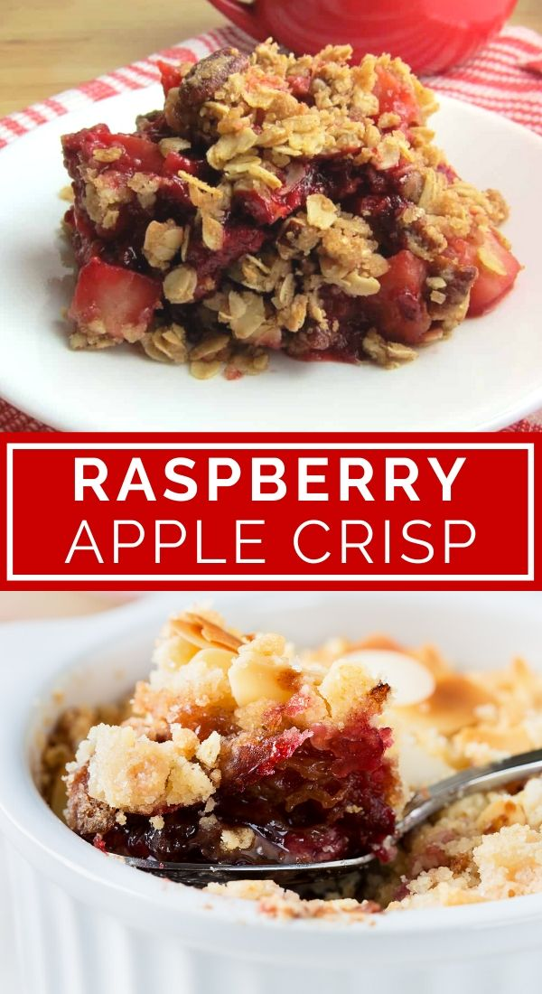 raspberry apple crisp collage pin