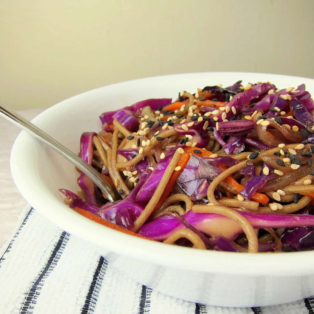 Soba and Red Cabbage Stir Fry