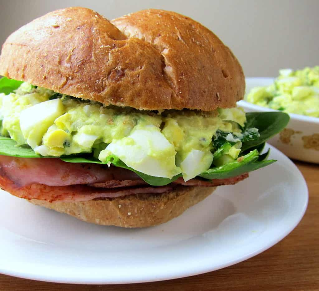 green eggs and ham - avocado egg salad sandwich