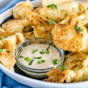 crispy pan fried cauliflower florets with dip