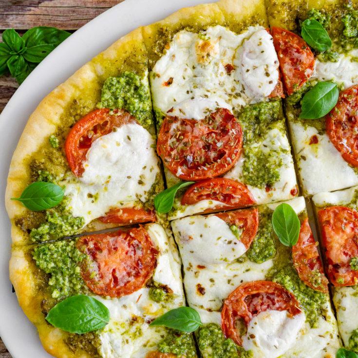 pesto pizza with fresh mozzarella