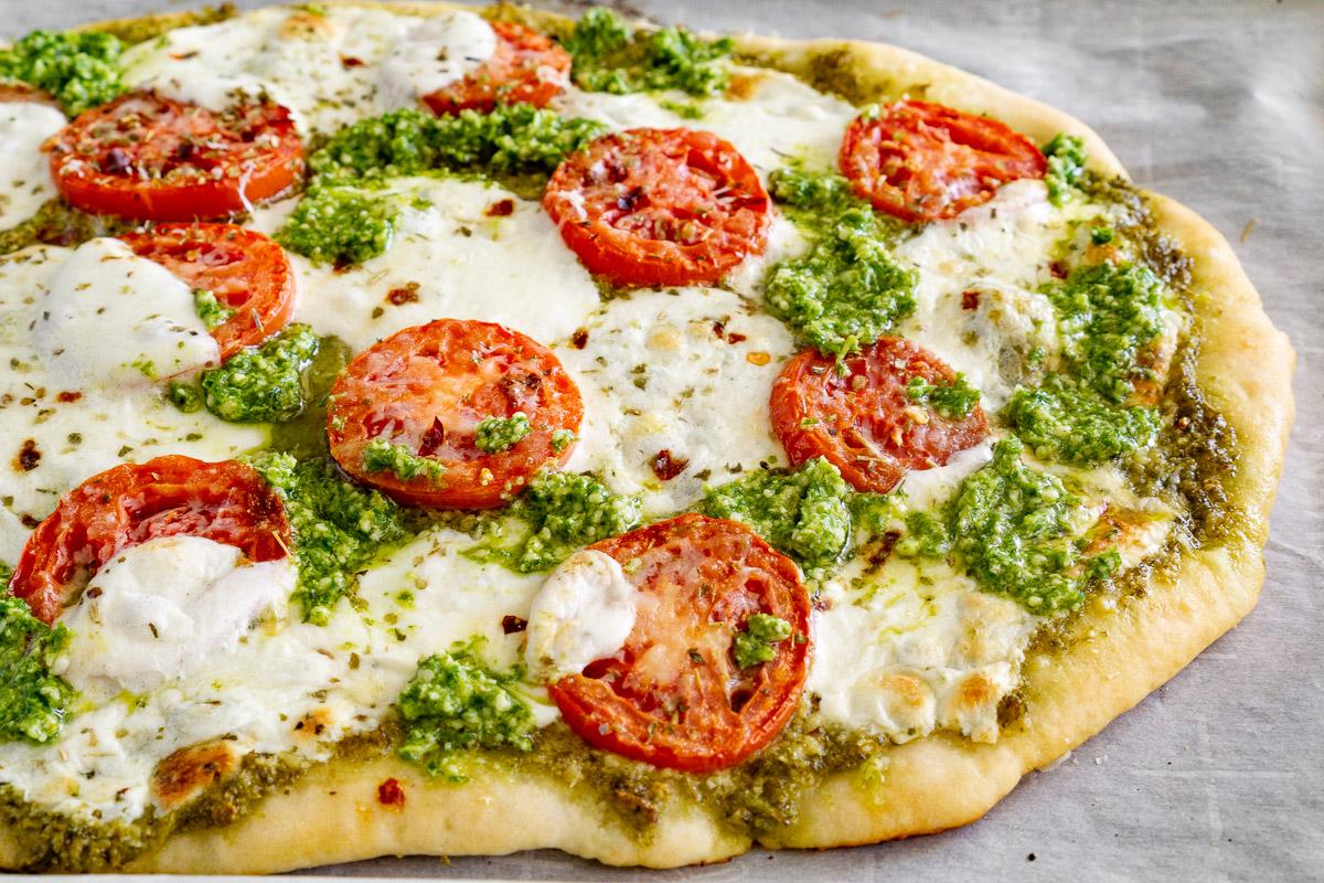 Pesto Pizza with Tomatoes and Mozzarella