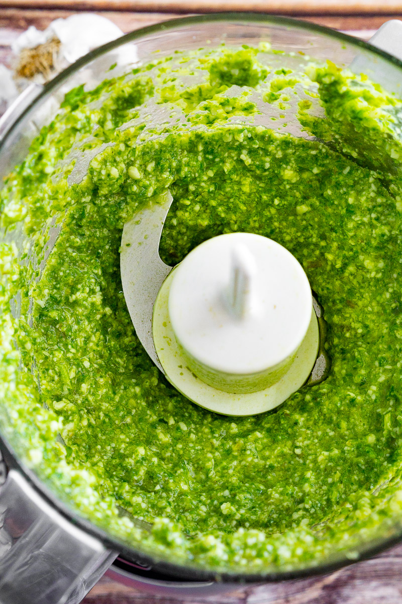 basil pesto in a food processor