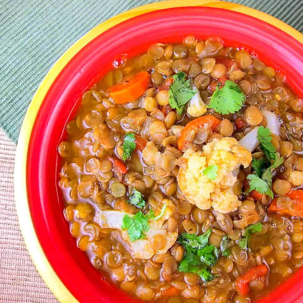 bowl of moroccan lentil soup