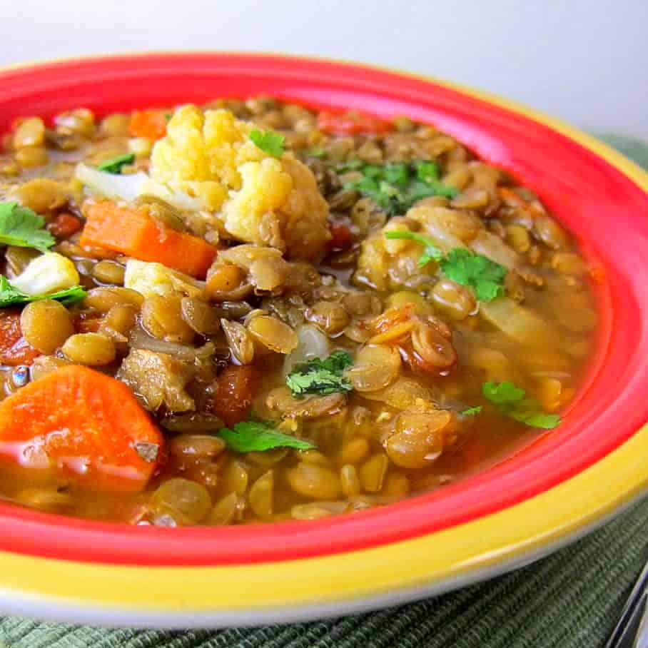 bowl of lentil moroccan soup