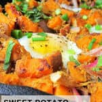 pinterest image of pulled pork sweet potato hash
