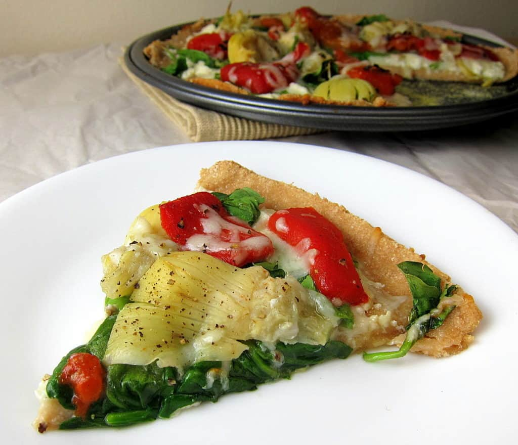 roasted red pepper spinach and artichoke flatbread