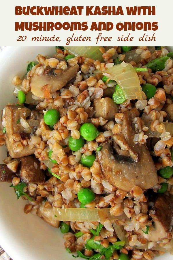 buckwheat kasha with mushrooms and onions - pinterest image