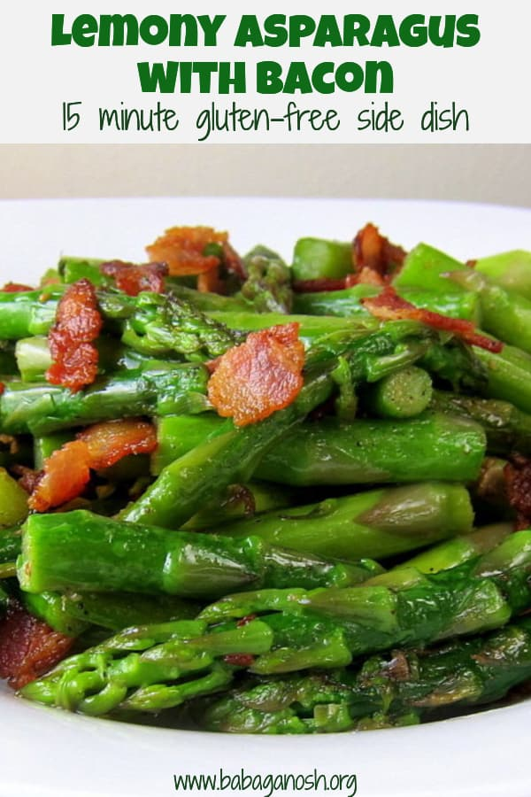 lemony asparagus with bacon side dish - pinterest image