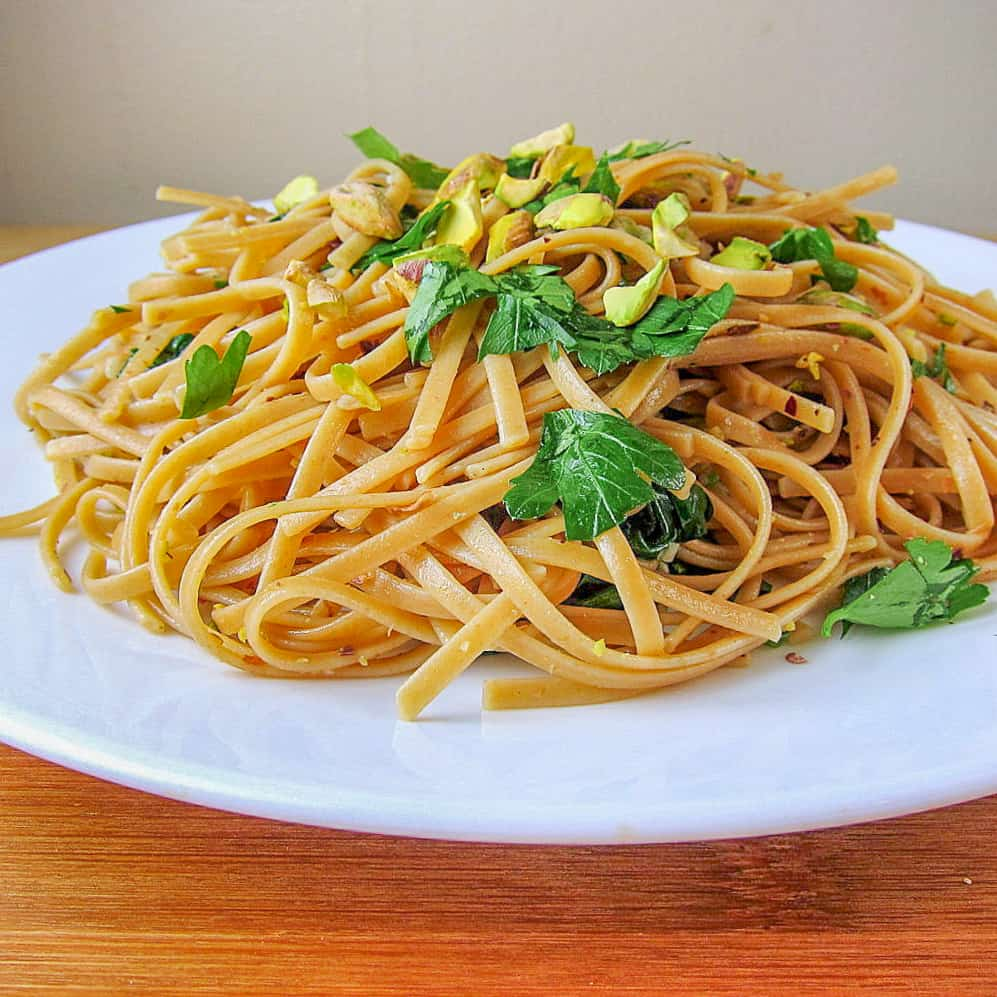 pistachio linguine in a lemon-garlic sauce