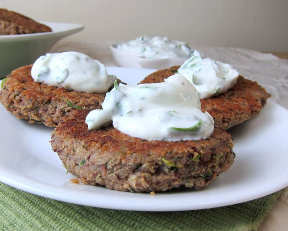 Quinoa Kidney Bean Burgers with Cilantro Lime Sauce