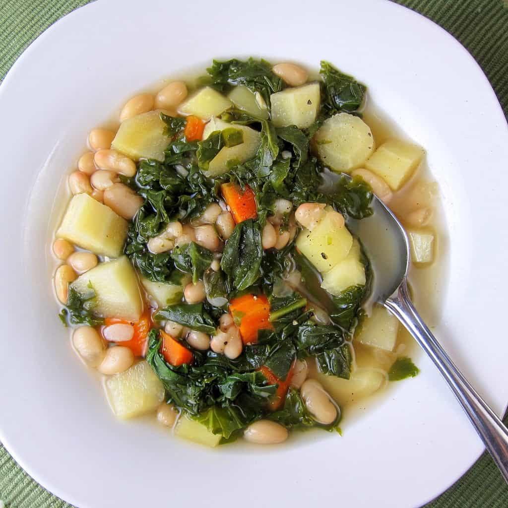 white bean kale soup with root vegetables