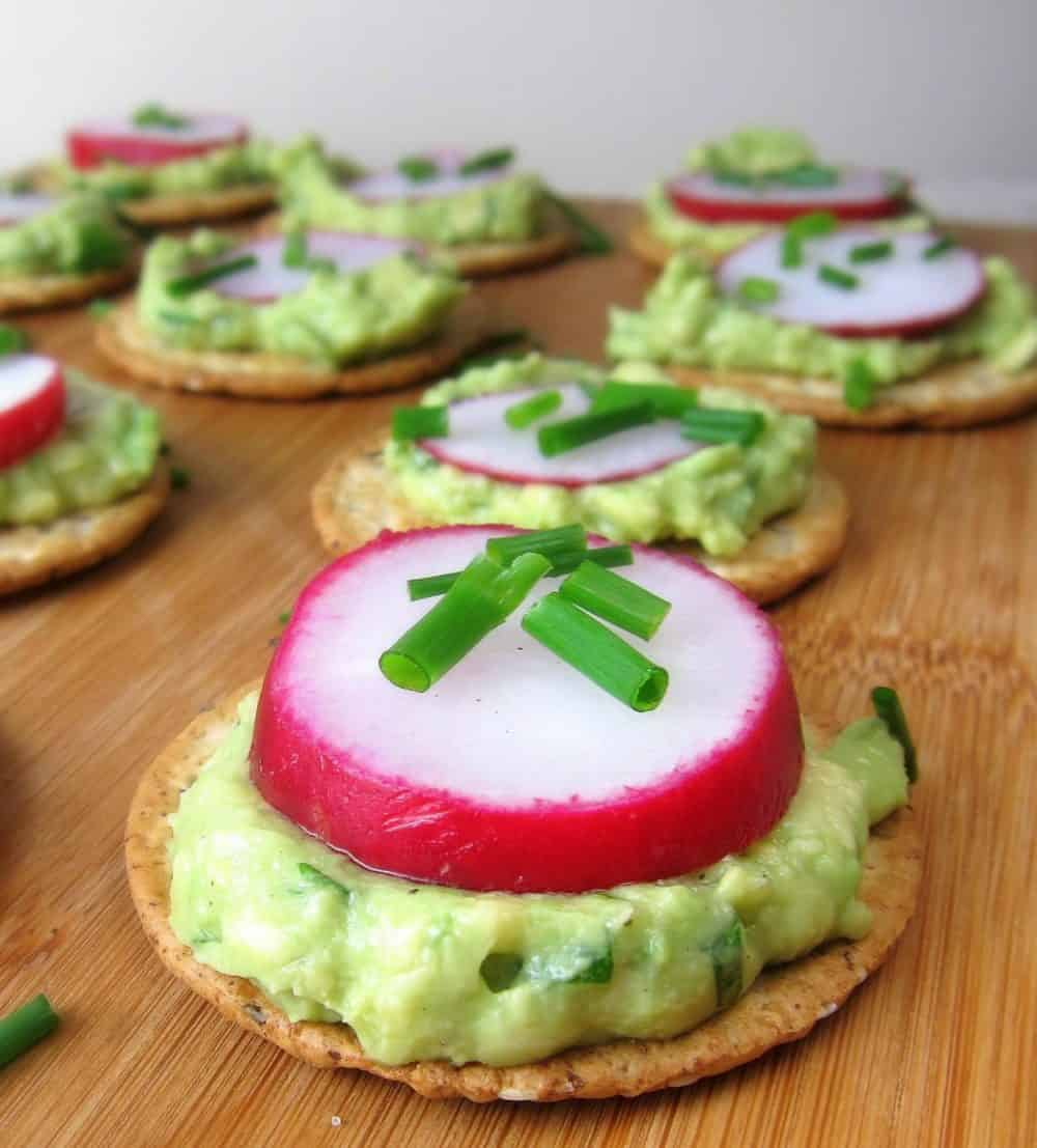 radish avocado crackers