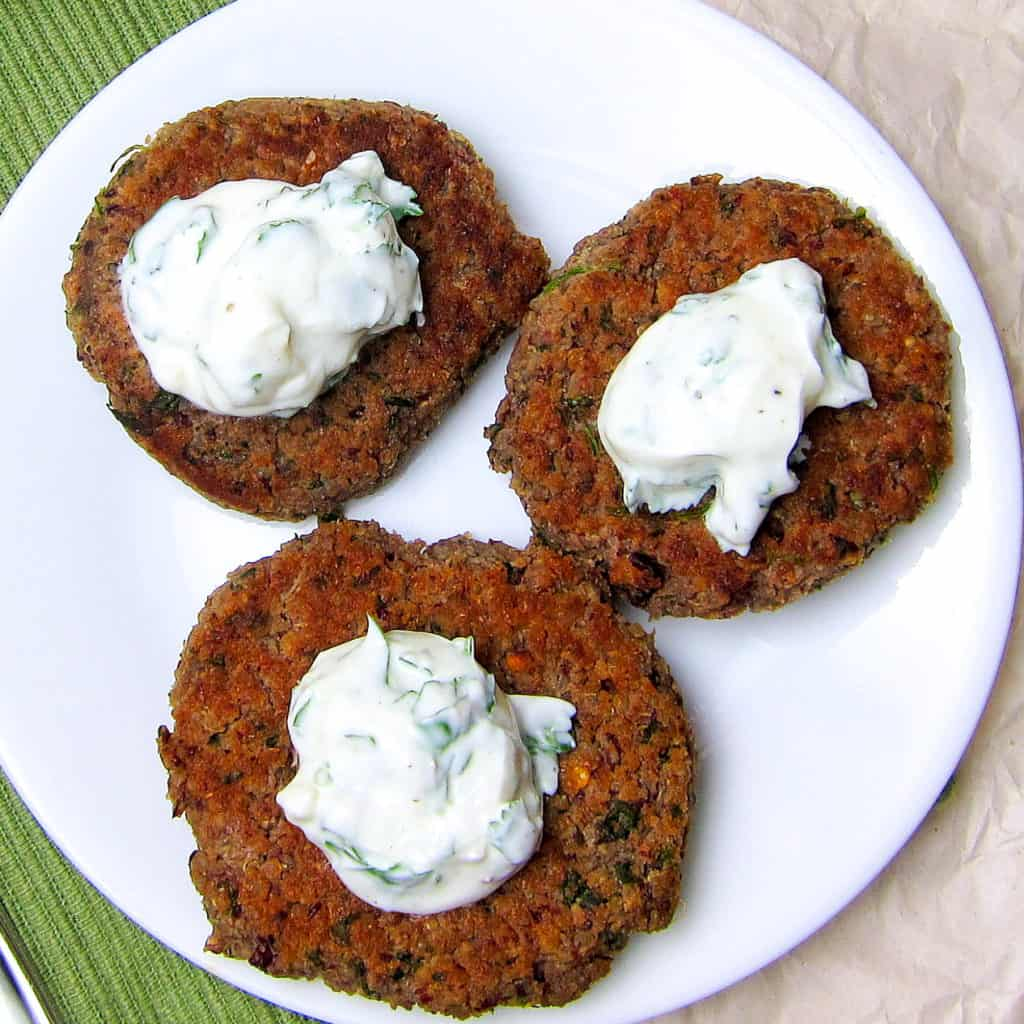 Quinoa Kidney Bean Burgers with Cilantro Lime Yogurt Sauce