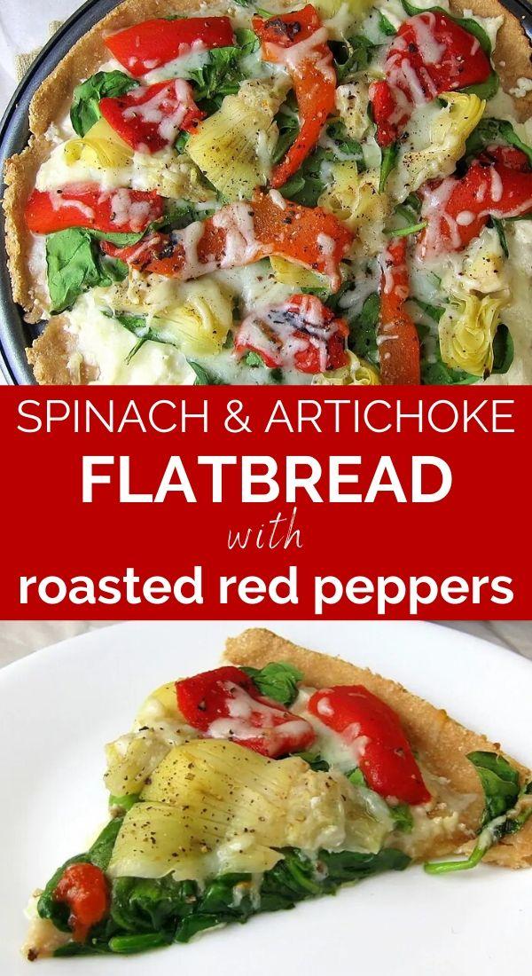 spinach artichoke flatbread pinterest graphic
