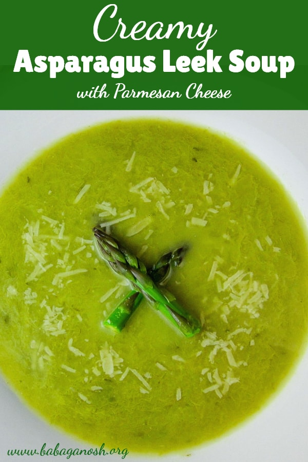 asparagus leek soup with parmesan cheese - pinterest image