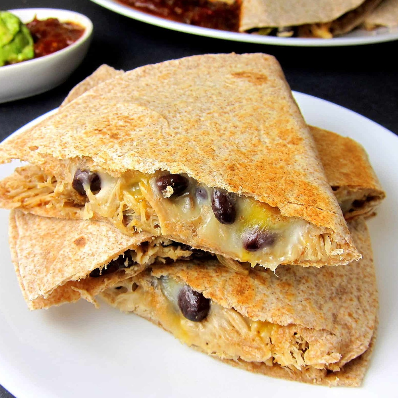 pulled pork black bean quesadilla
