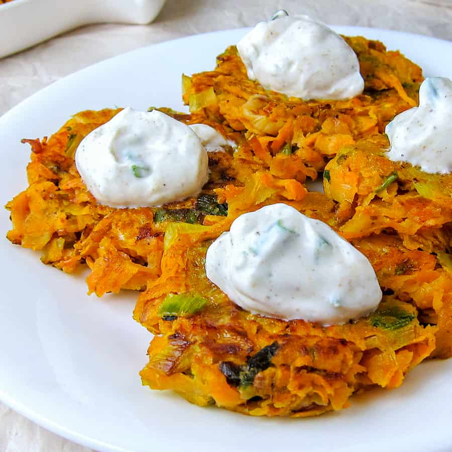Leek and Sweet Potato Latkes with Cumin-Garlic Yogurt Sauce
