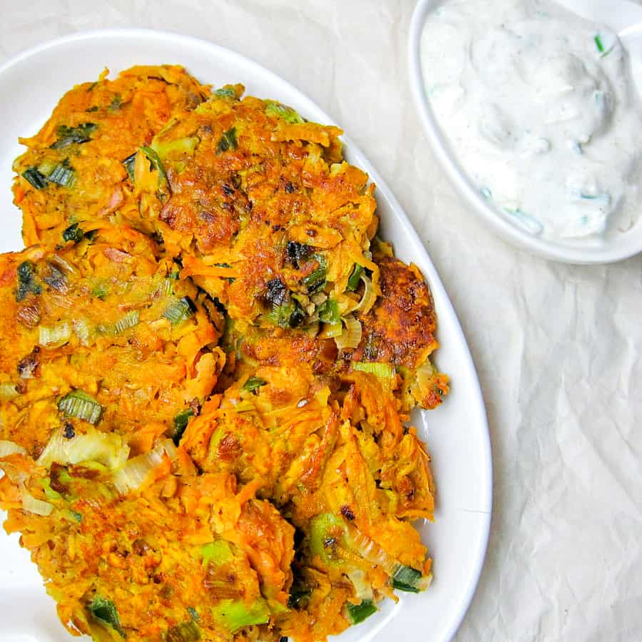 leek and sweet potato latkes on a plate