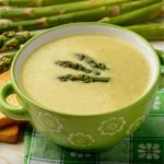 bowl of leek asparagus soup