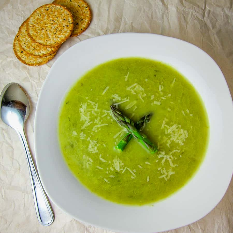 asparagus leek soup with parmesan
