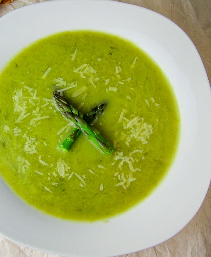 asparagus leek soup with parmesan cheese