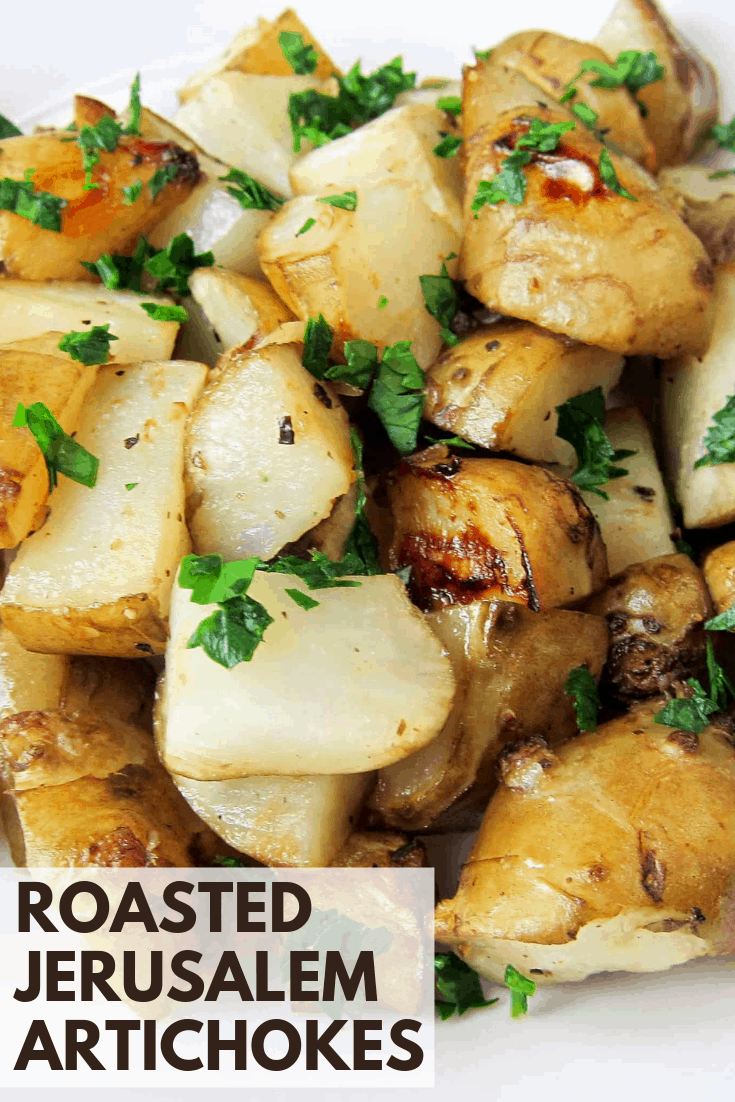roasted jerusalem artichokes pinterest image