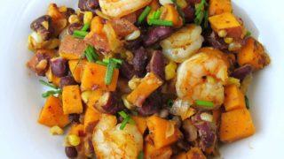 Cajun Shrimp Sweet Potato Hash