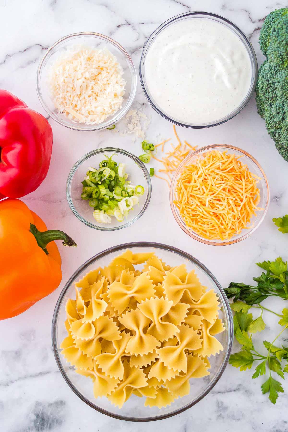 Ingredients for broccoli ranch pasta salad.