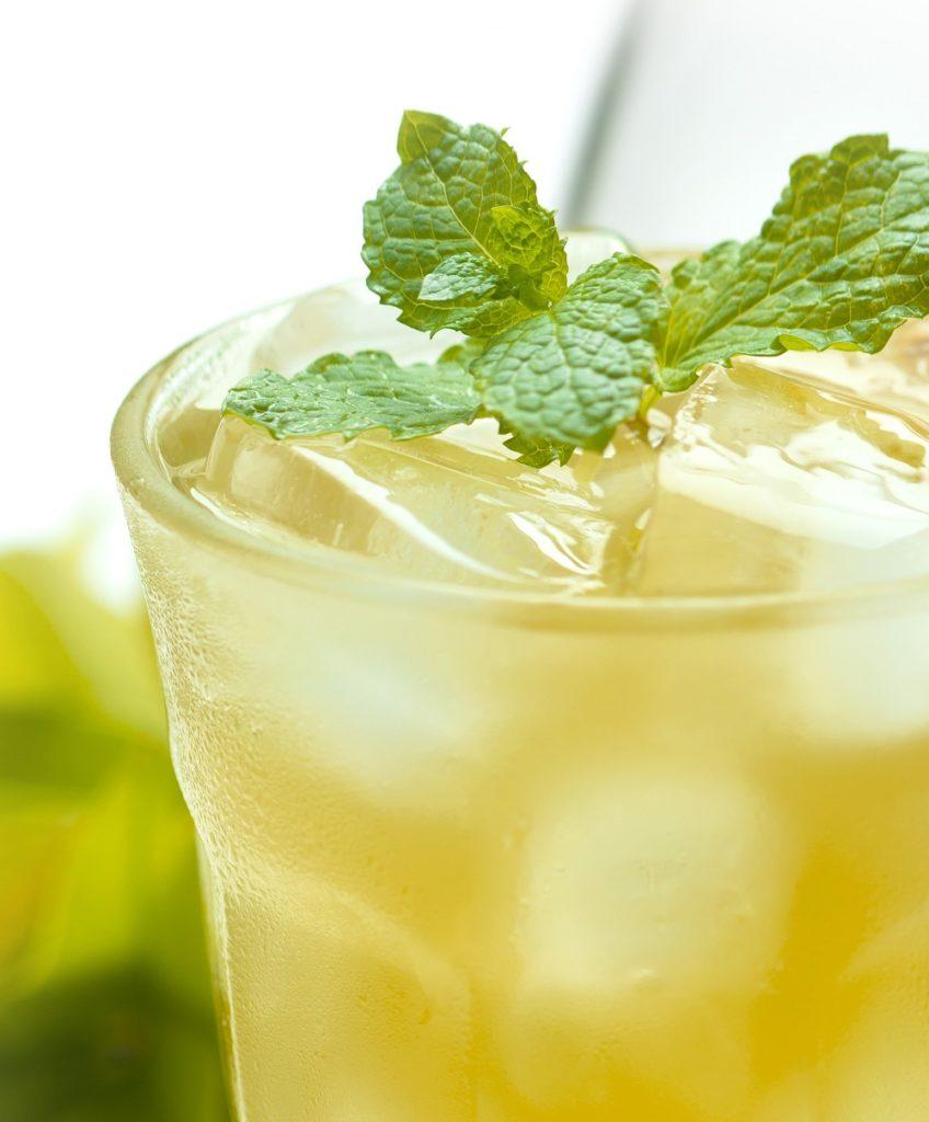 glass of honey ginger limeade