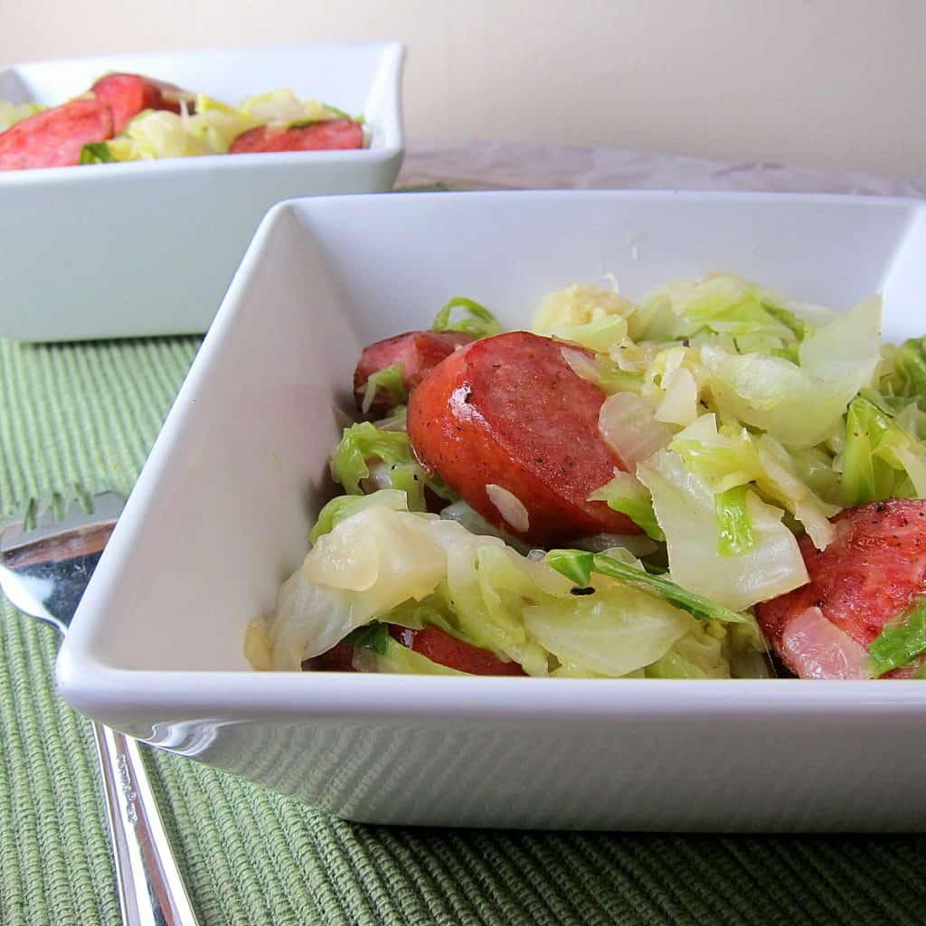 kielbasa and cabbage stir fry
