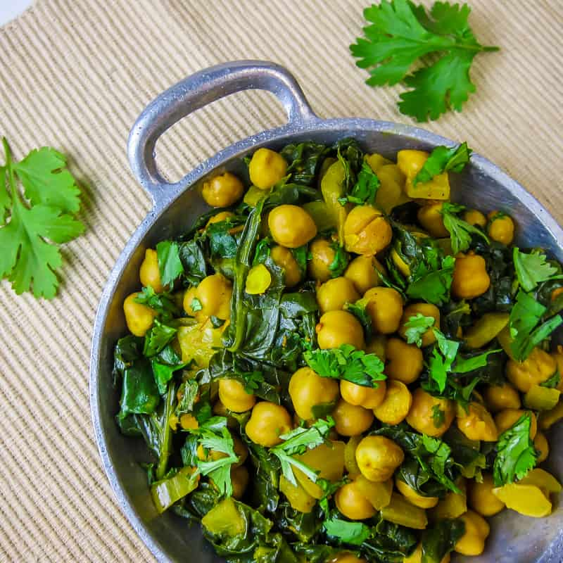 Curried Chickpeas and kale