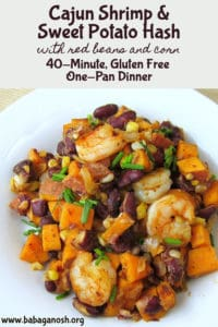 Cajun shrimp sweet potato hash pinterest image