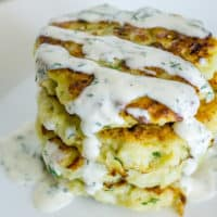 Cauliflower Fritters with Garlic Dill Aioli