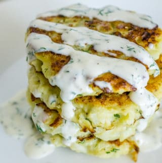 image of a stack of cauliflower pancakes