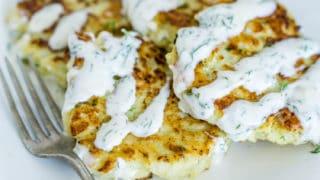 Cauliflower Fritters with Garlic Dill Aioli