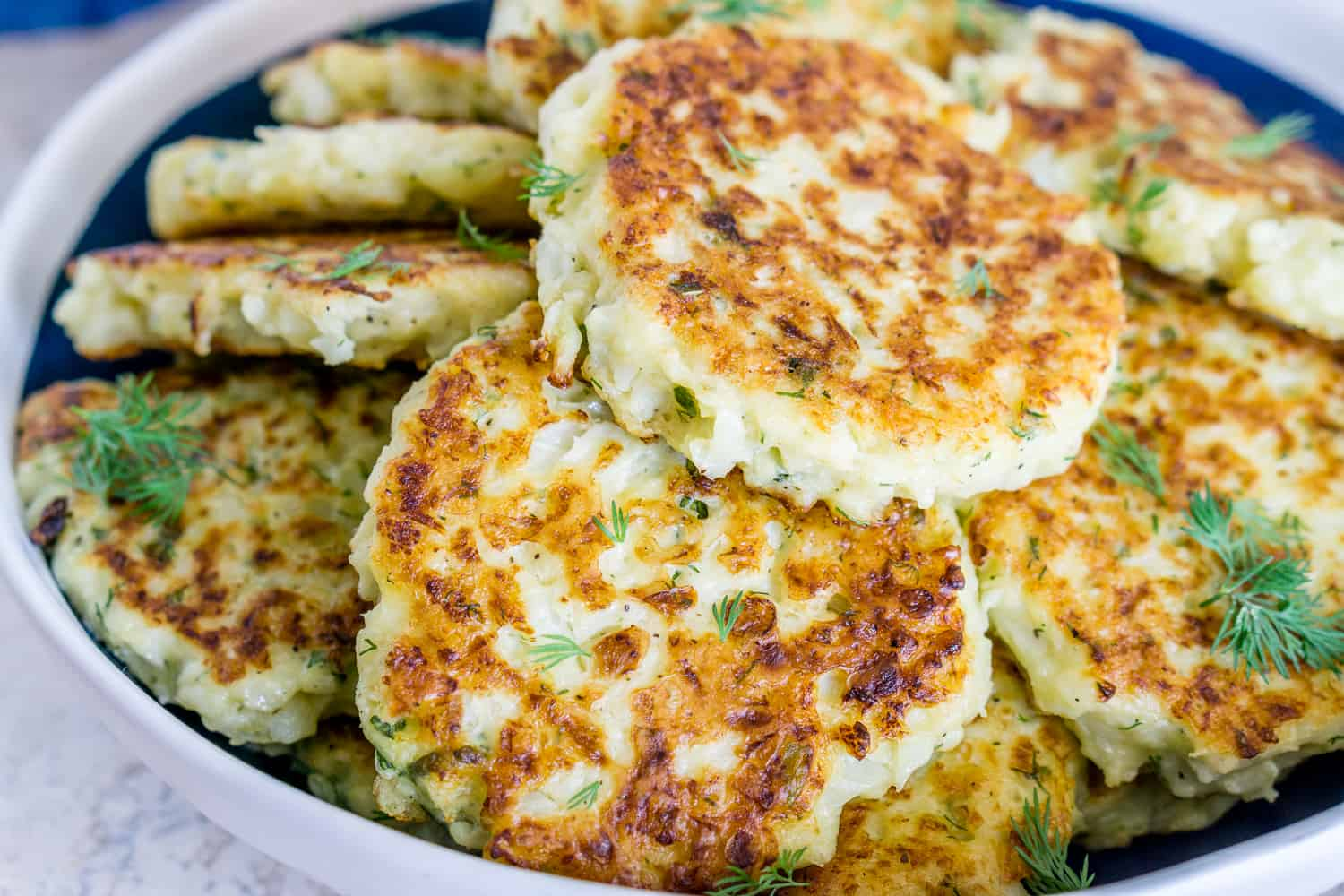 image of cauliflower fritters on a platter
