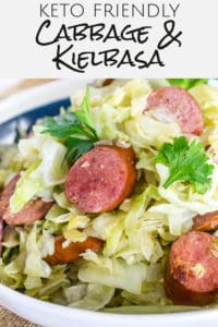 fried cabbage and kielbasa pinterest image
