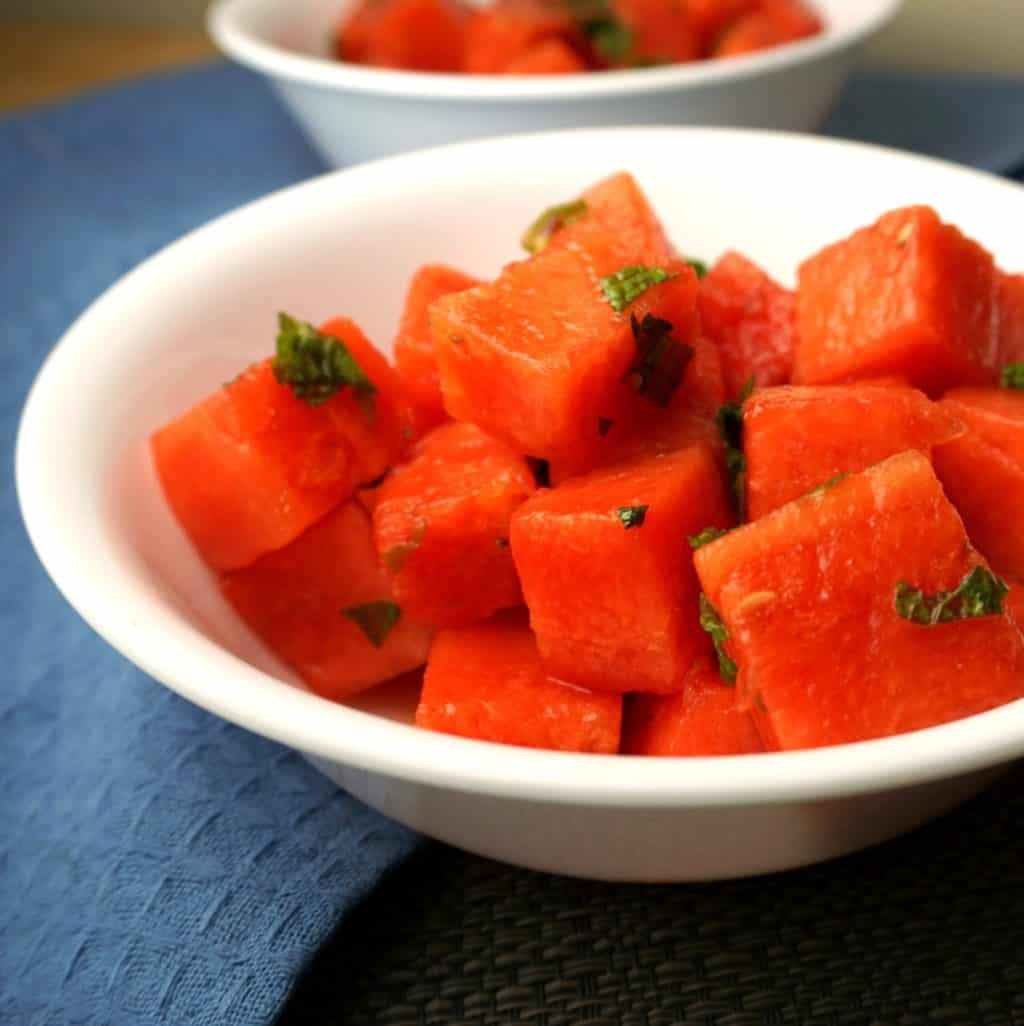 Watermelon Salad with Honey Lime Mint Dressing
