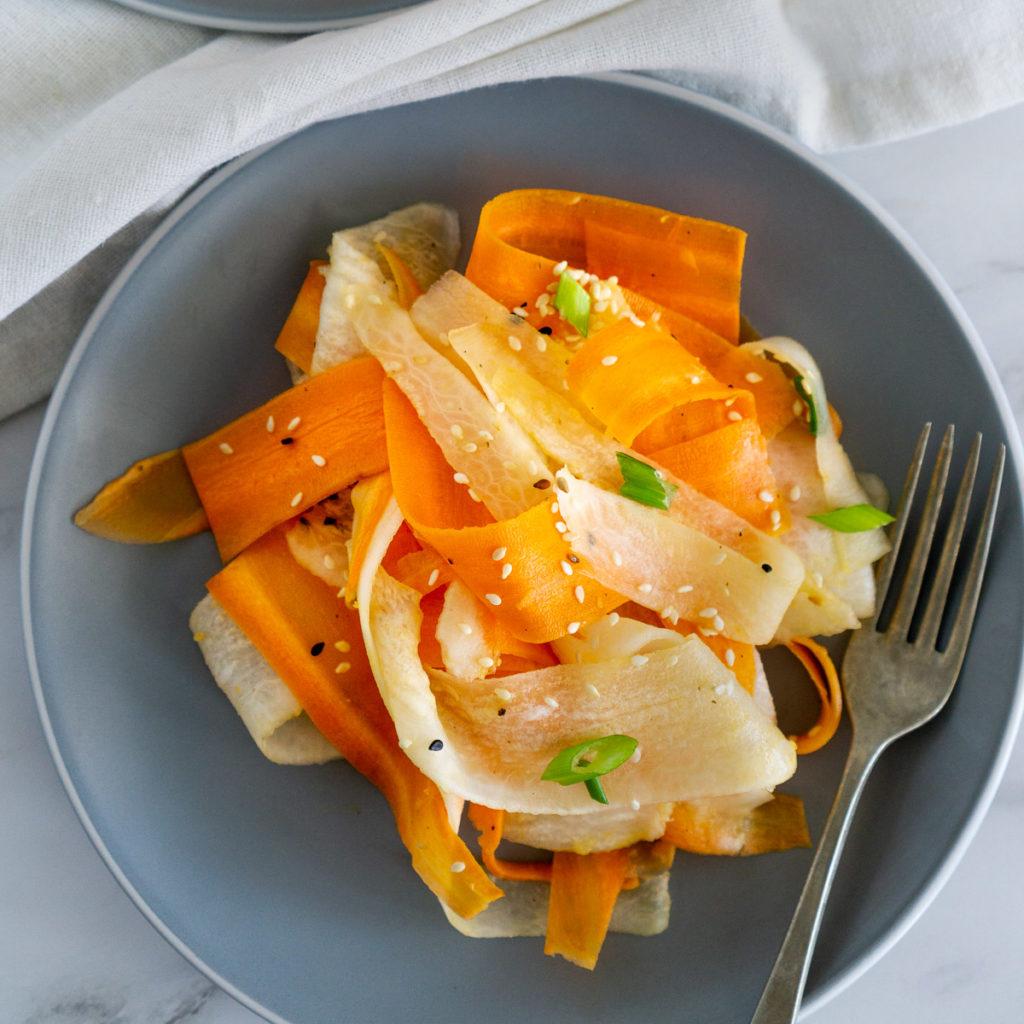 carrot daikon salad on a plate