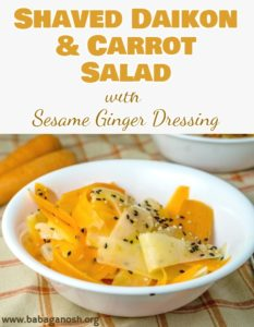 Shaved Carrot and Daikon Salad with Sesame Ginger Dressing