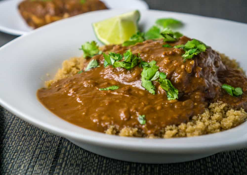 Chicken with Mole Sauce over Quinoa