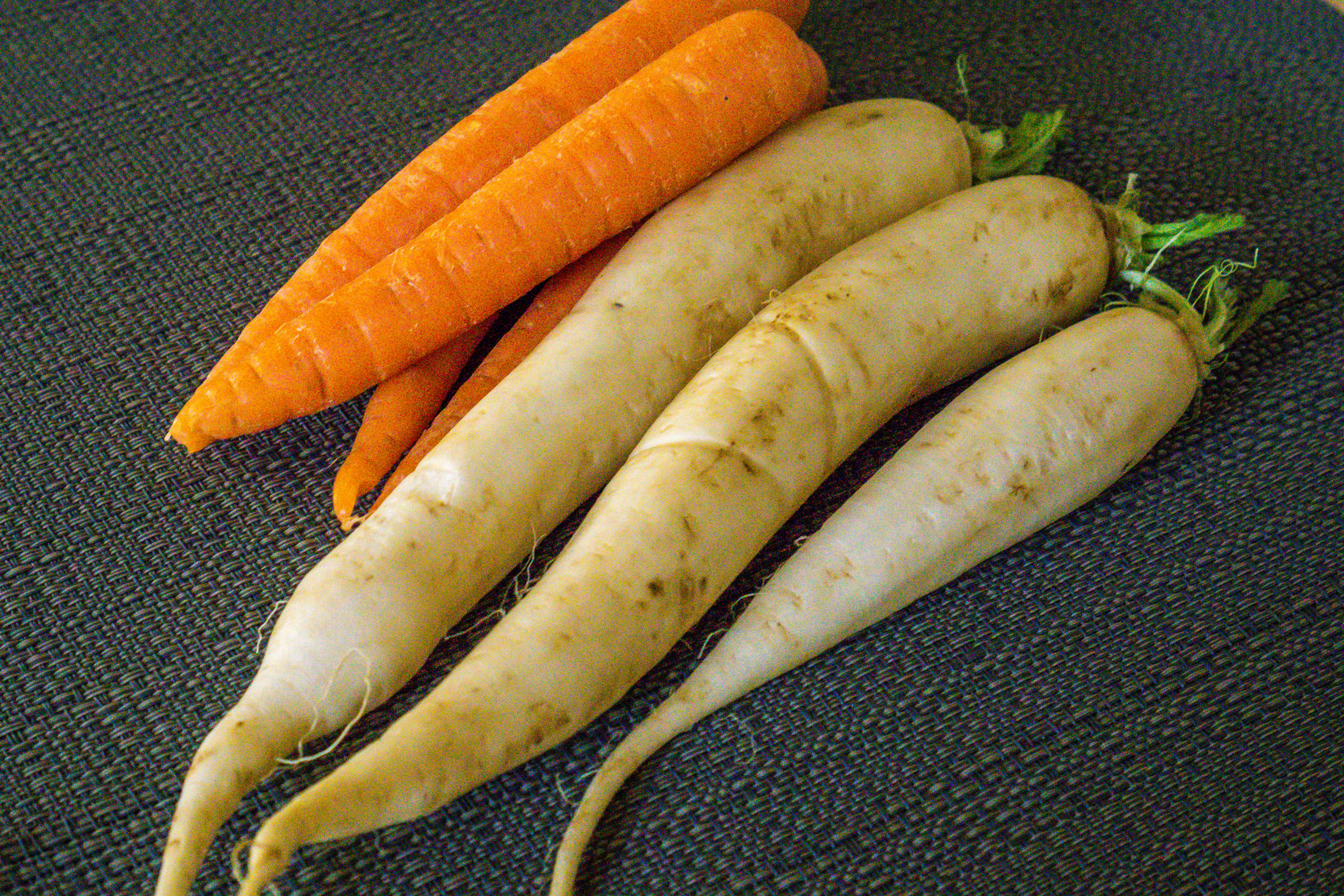 Carrots and Daikon Radish for a Shaved Carrot and Daikon Salad with Sesame Ginger Dressing
